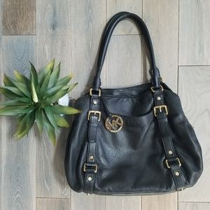 MICHAEL KORS Black Pebble Leather Shoulder Bag